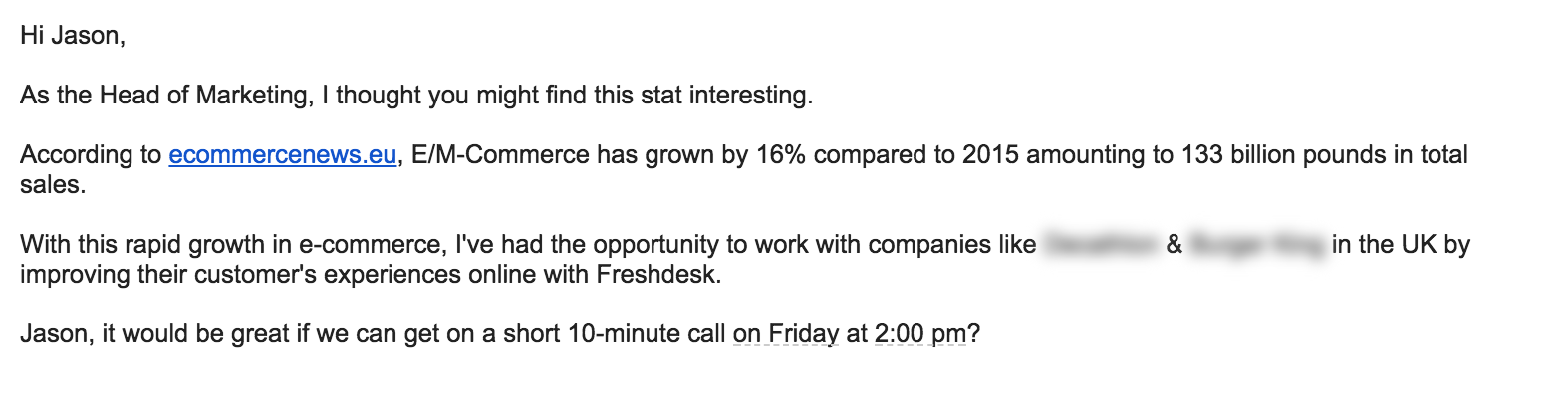 Share Helpful Industry Information - cold email example