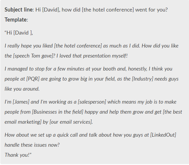 Leverage Your Participation in a Networking Event - cold email example