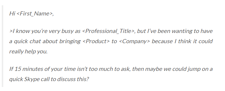 Show Respect for Your Prospect's Time - cold email example