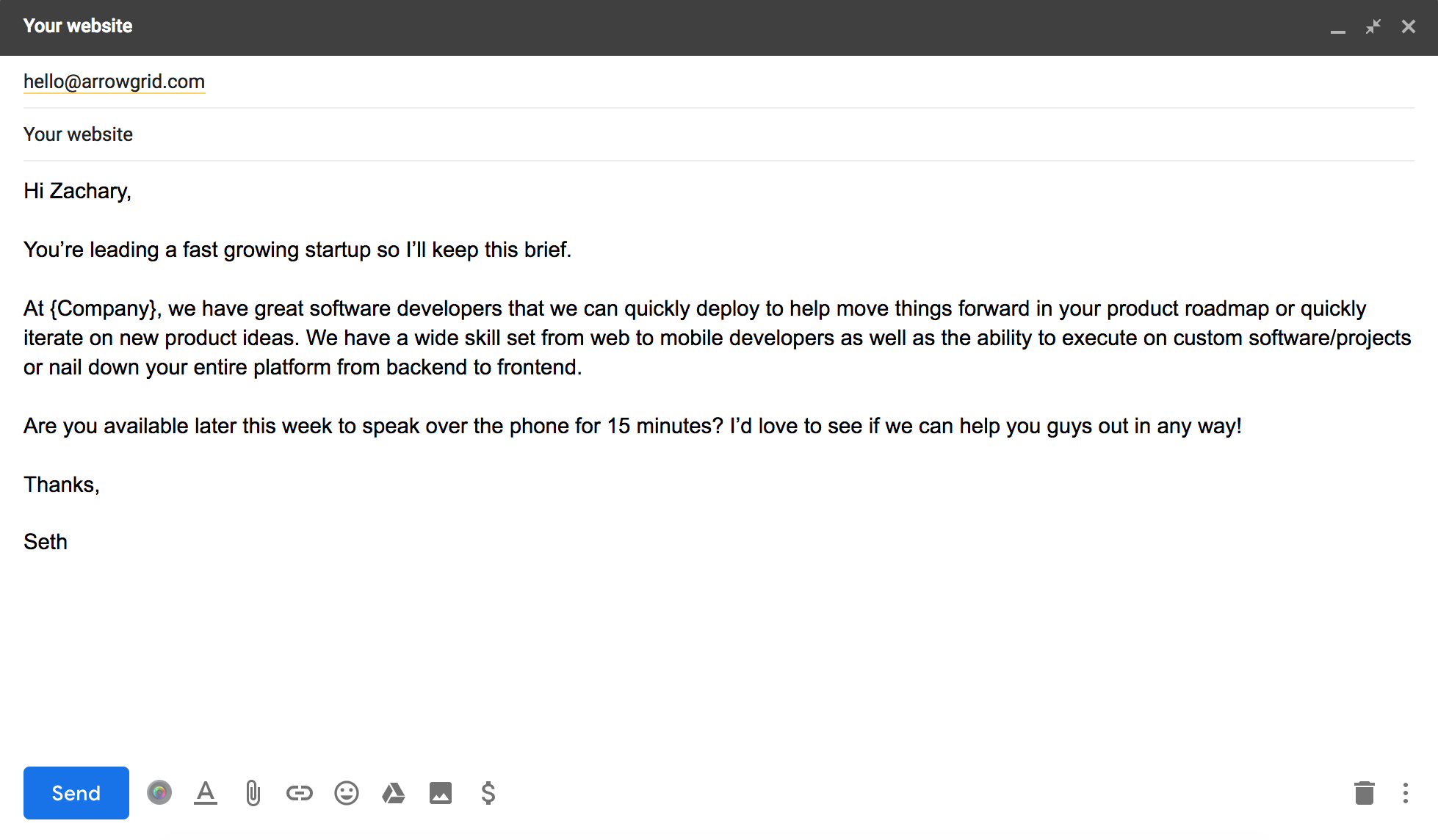 Lead With a Compliment - cold email example
