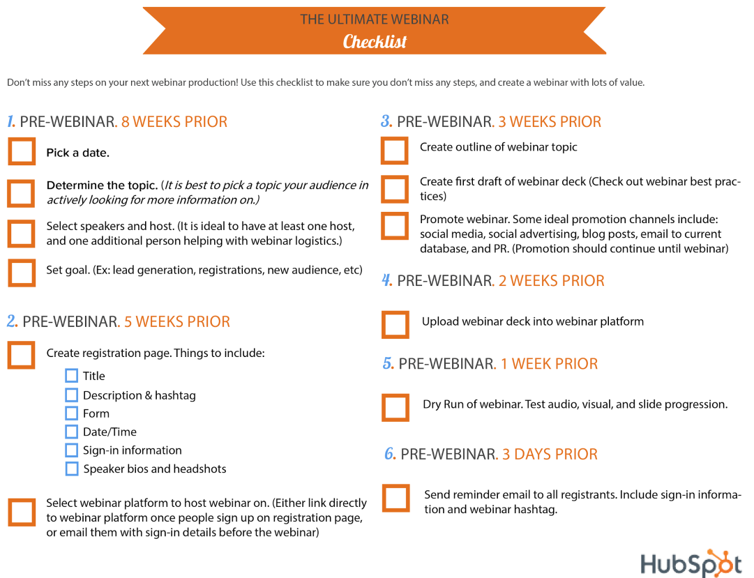 Sample checklist lead magnet from HubSpot