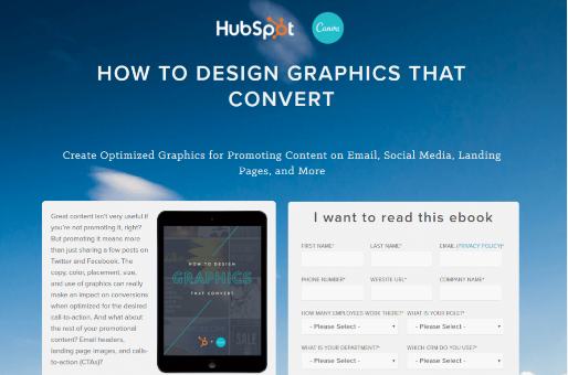 Example of a HubSpot landing page with a clear headline