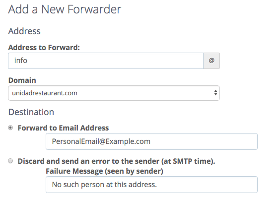 Adding a new forwarder via bluehost email manager menu