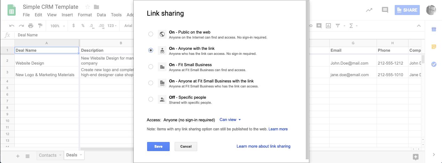 google sheets crm setting up sharing