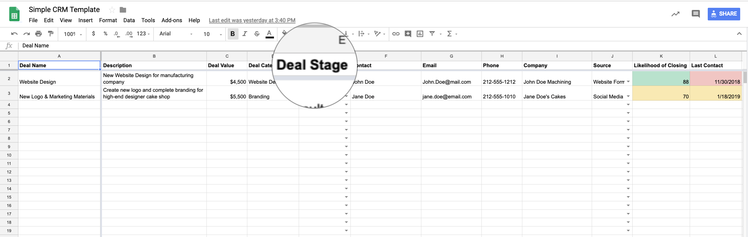 google sheets crm creating dual headers