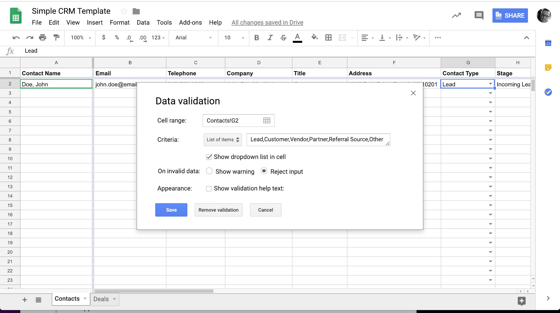 google sheets crm data validation