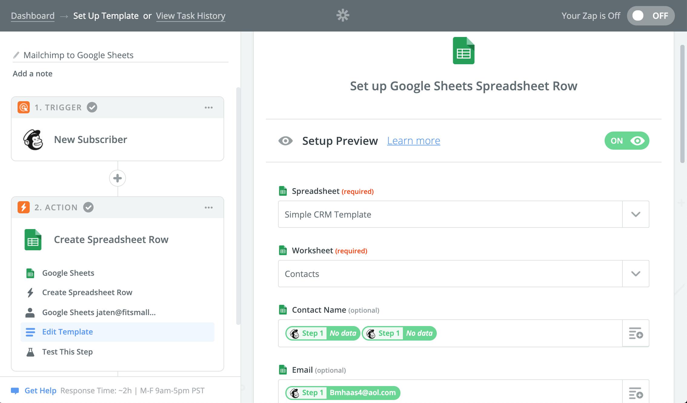 google sheets crm mailchimp integration