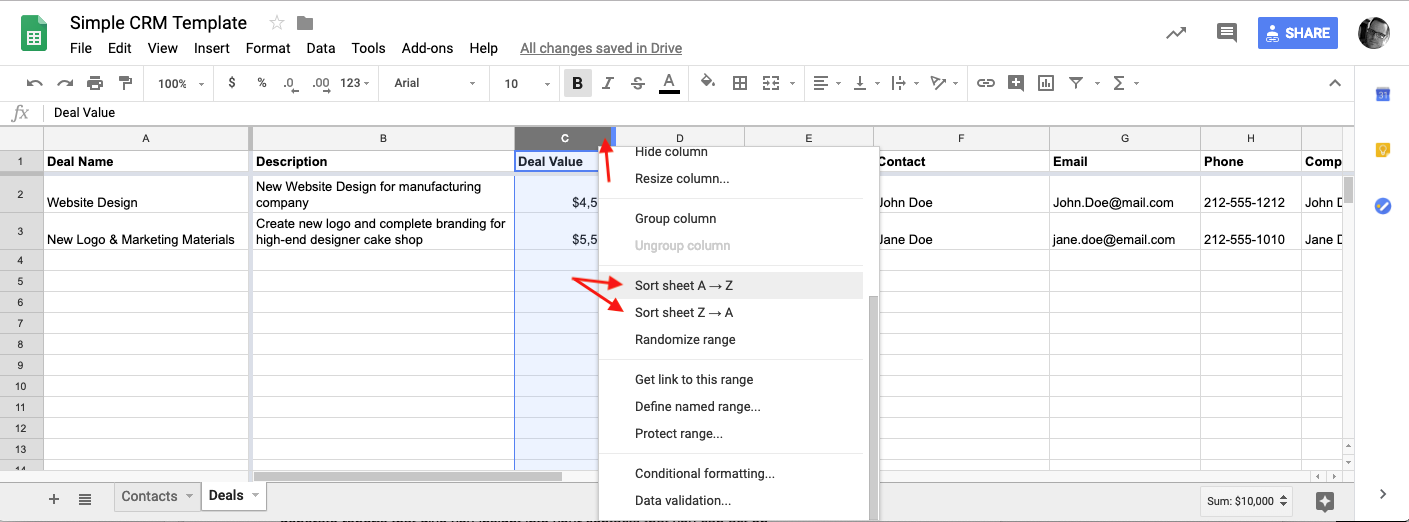 google sheets crm sorting options