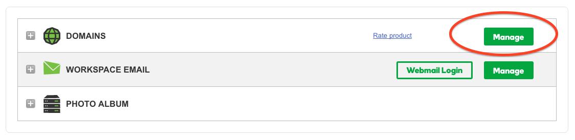 GoDaddy Domain Name manager dashboard