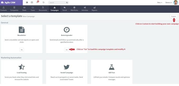 Agile CRM Marketing automation setup dashboard