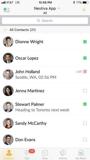Nextiva mobile app dashboard