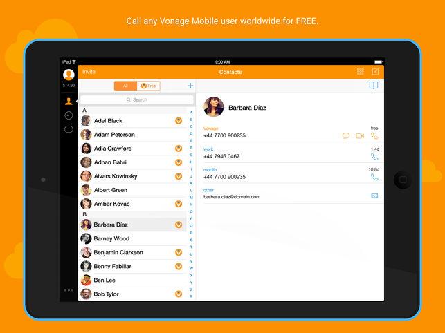 Vonage mobile app dashboard