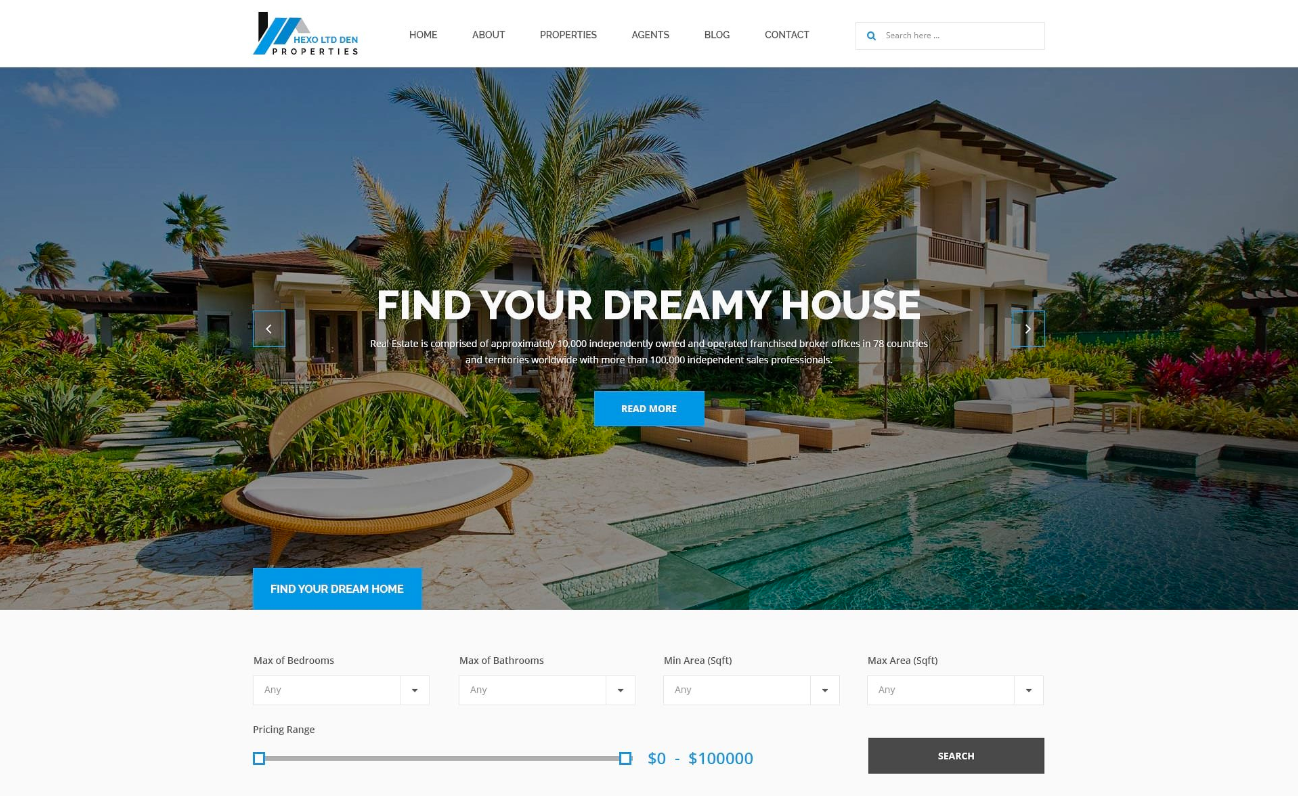 A visual of the Hexo Real Estate WordPress theme