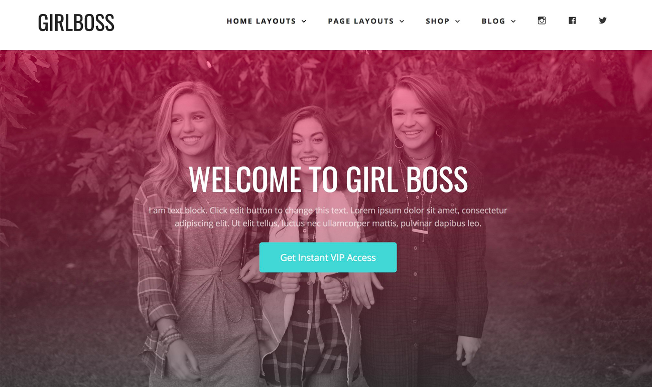 A visual of the Girlboss WordPress theme