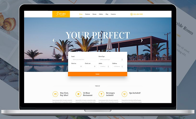 A visual of the Creative Market - 5 Stars Hotel, Spa, and Resort WordPress theme