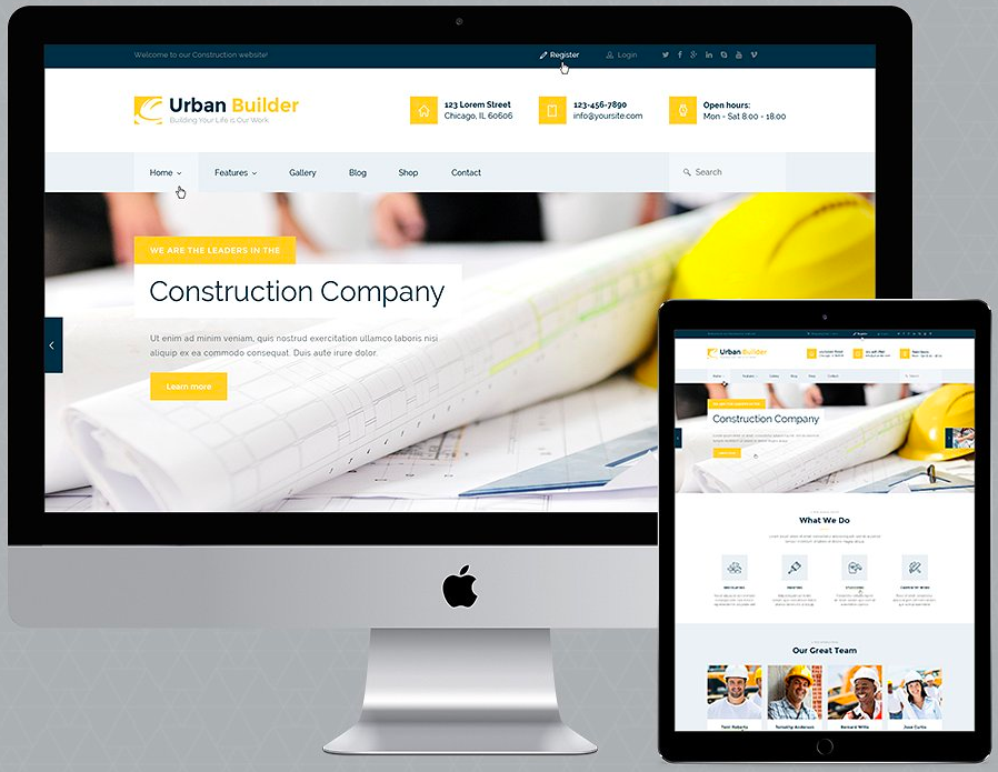 A visual of the Urban Builder - Construction WordPress theme