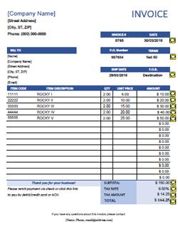 QuickBooks Invoice Template