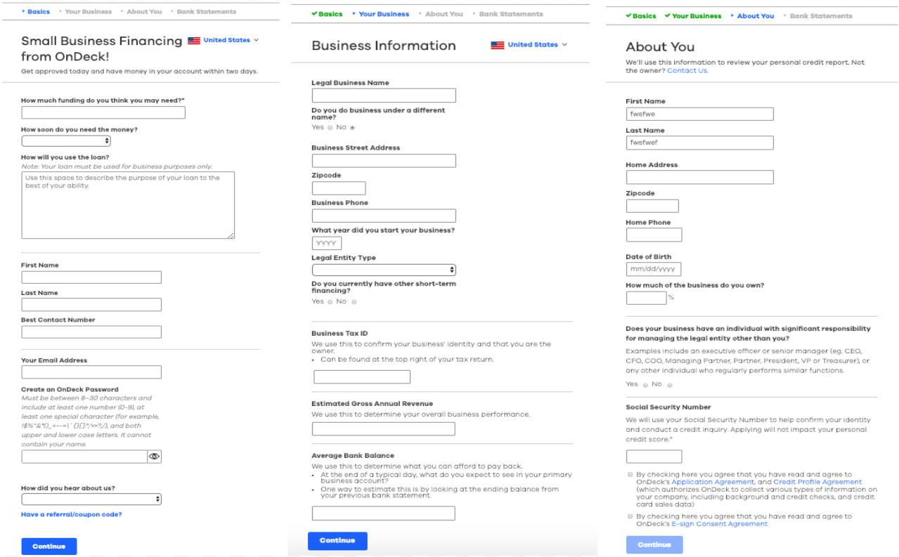 image of OnDeck's small business line of credit online application
