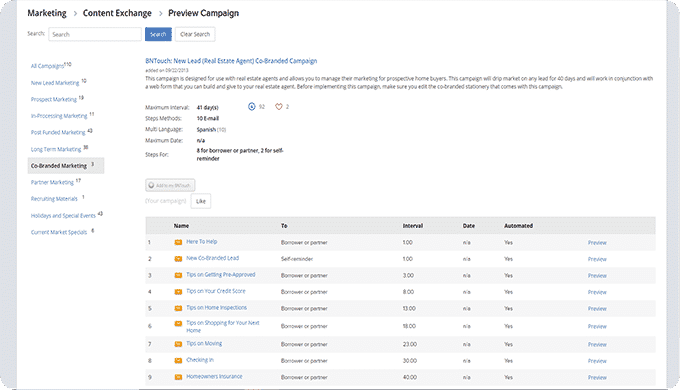 Screenshot of BNTouch Content Exchange