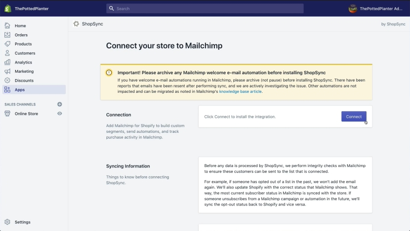 Connect your store to Mailchimp