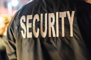 jacket with SECURITY imprinted on the back