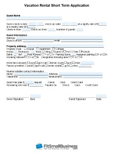 Vacation rental short term application form