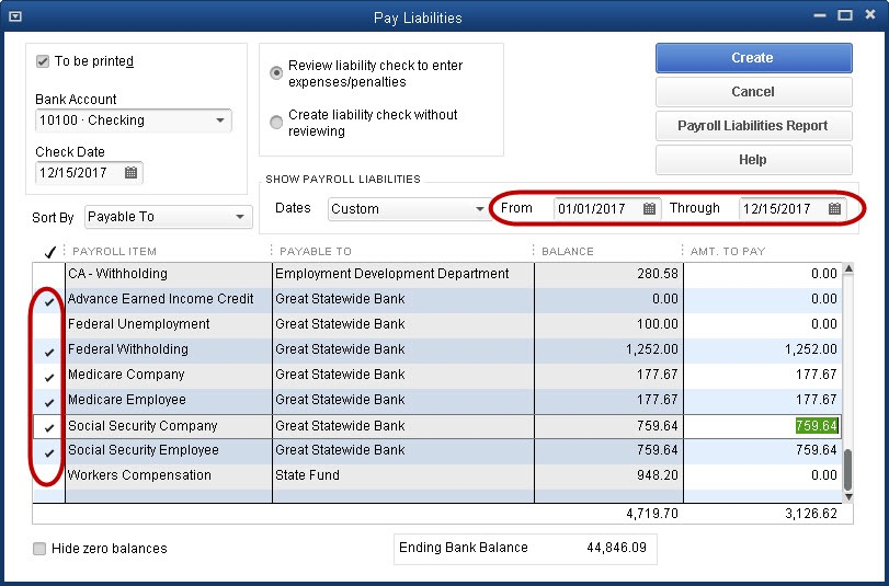 Intuit Payroll dashboard