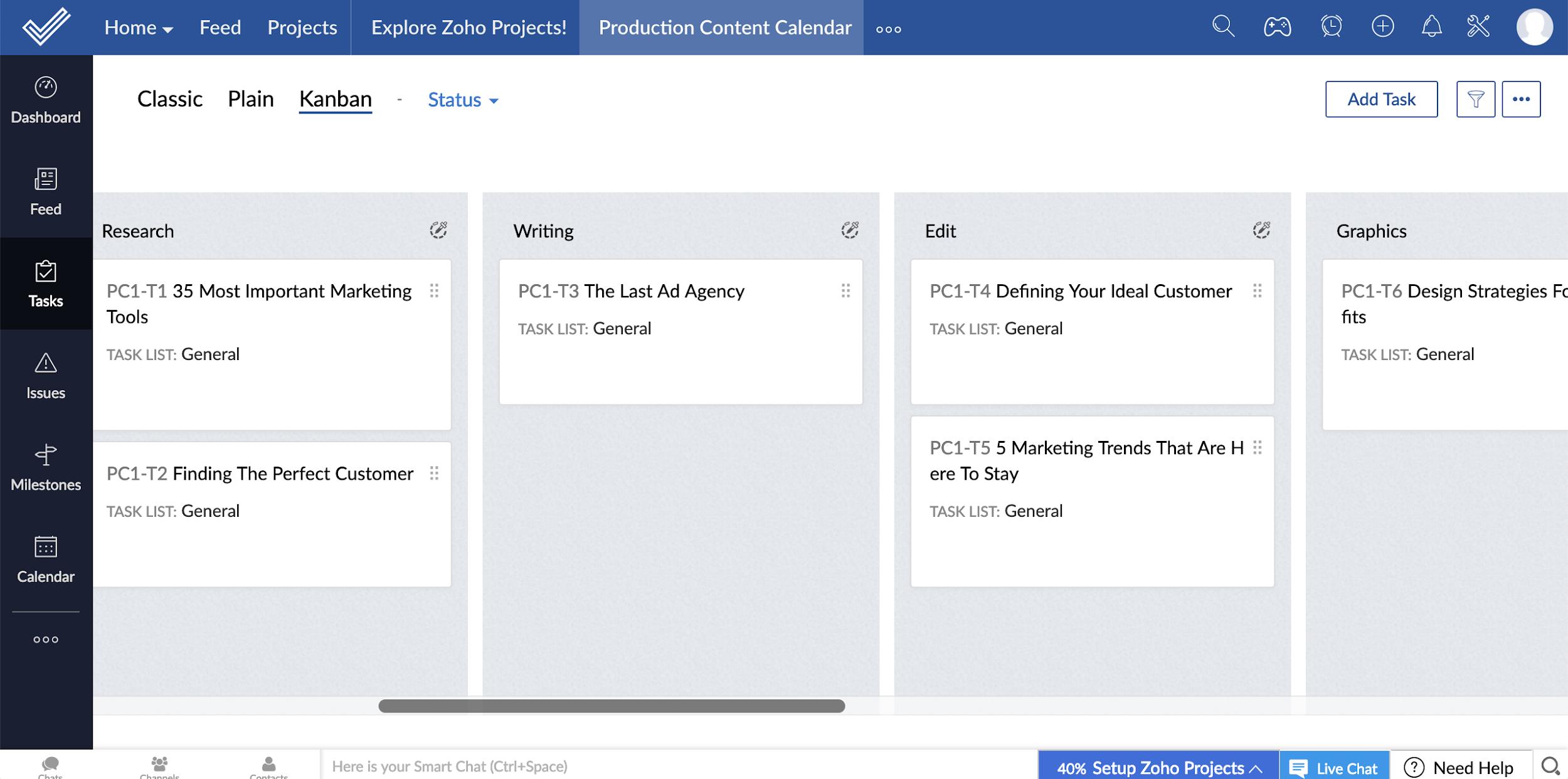 Zoho Projects - trello alternative