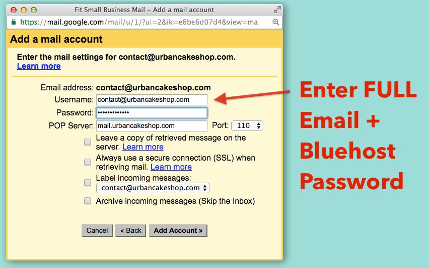 Popup window for how to add a full email and Bluehost password in gmail settings