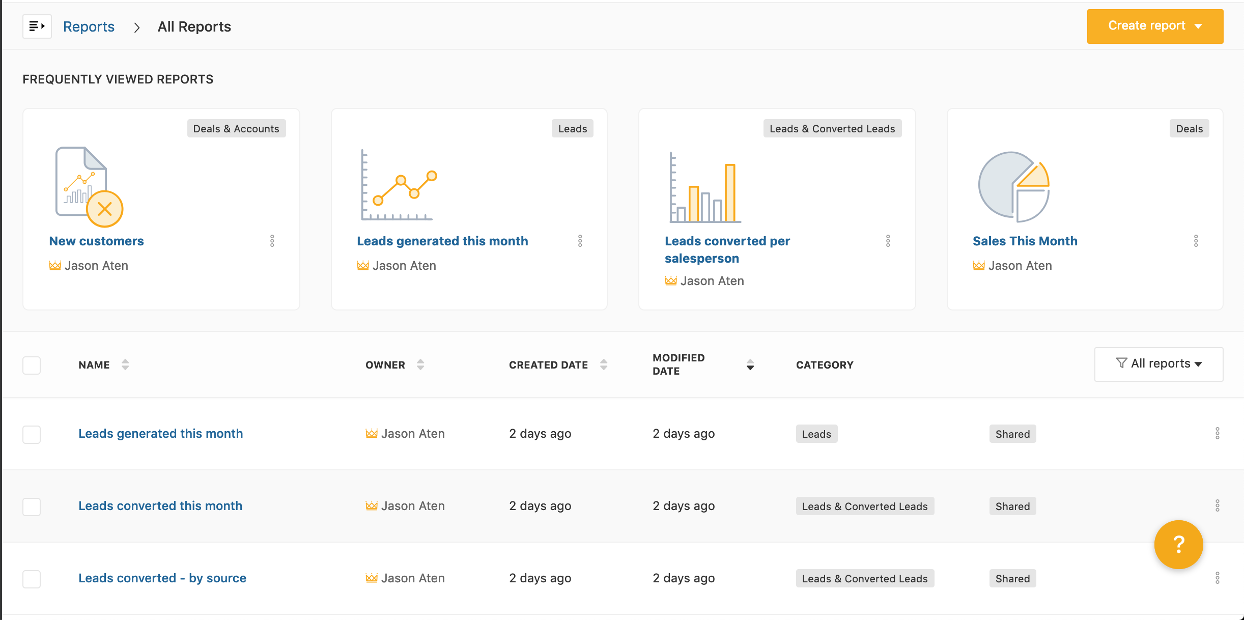 Freshsales reporting interface