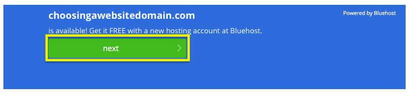 Screen for purchasing an available domain name using Bluehost