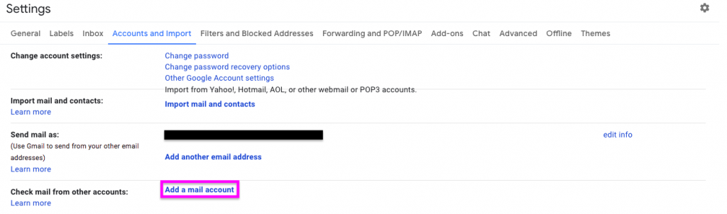 Gmail settings highlighting where to add other mail accounts