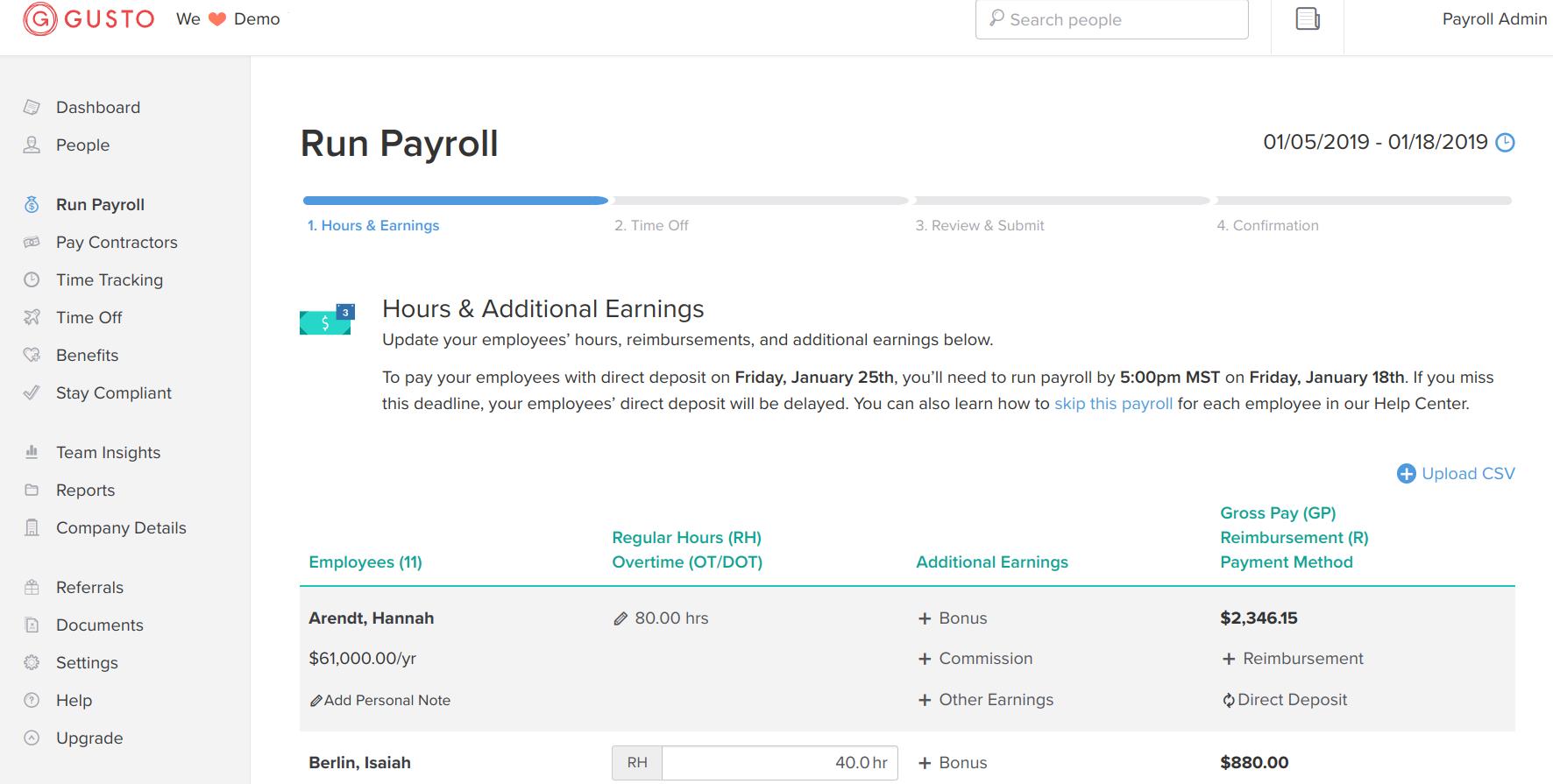 Gusto payroll interface