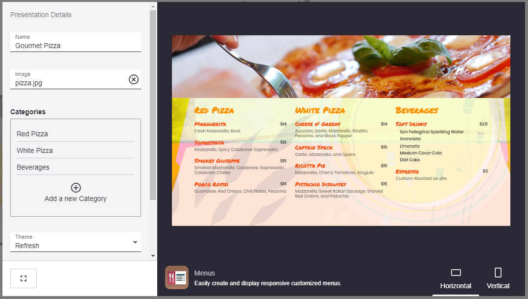 Online dashboard from Mira showing how to change a price or menu item