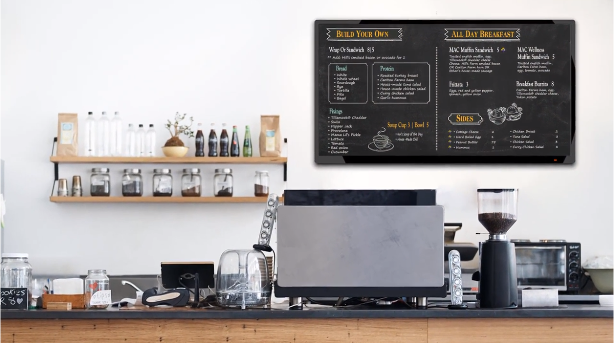 a kitchen background with chalkboard-like menus on the wall