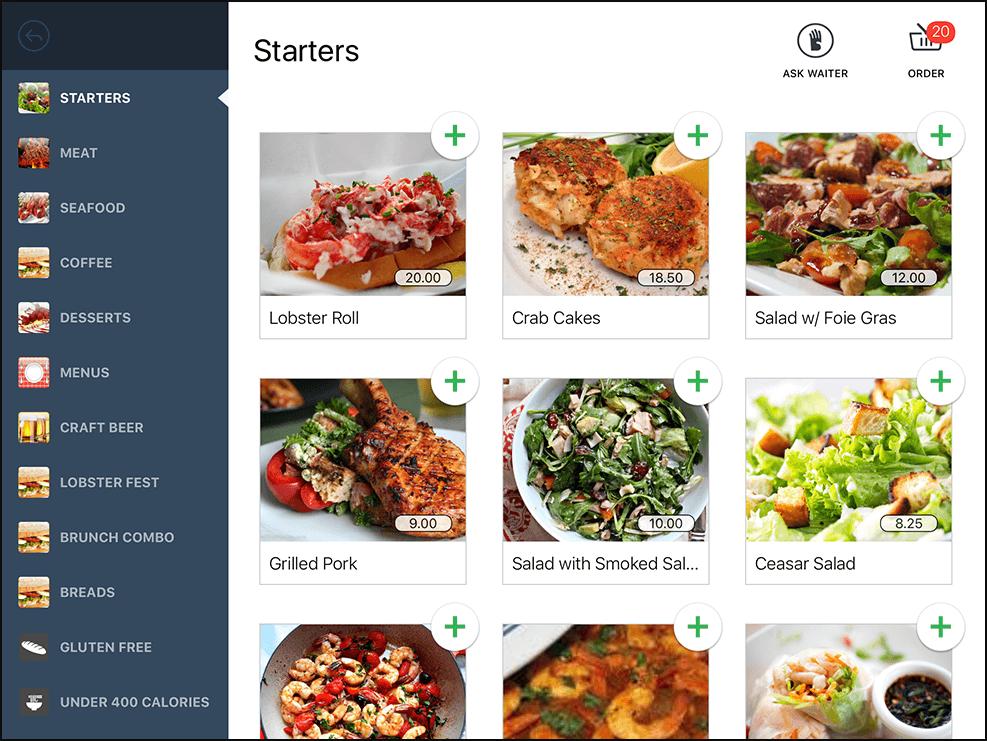 A display of various food options via Lightspeed Restaurant