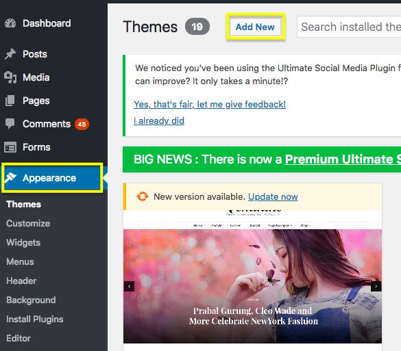 Uploading a theme to WordPress