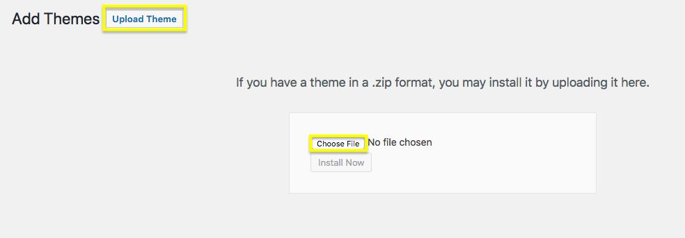 Upload a WordPress theme