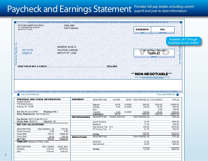 paychex paycheck and earnings statement