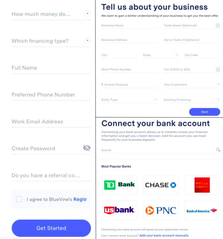 image of Bluevine's small business line of credit online application