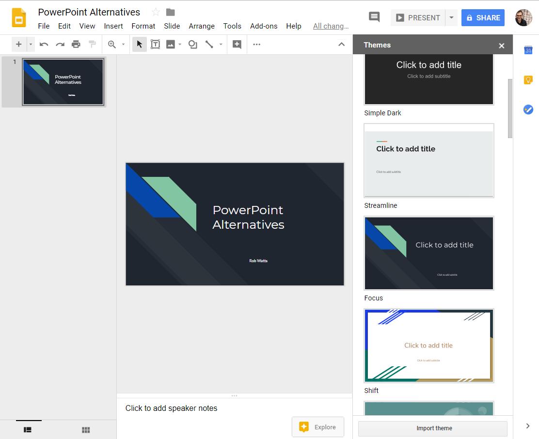 Google Slide - powerpoint alternatives