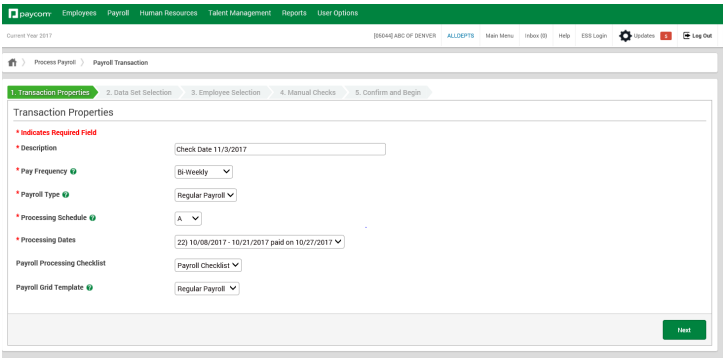 Payroll processing setup on Paycom
