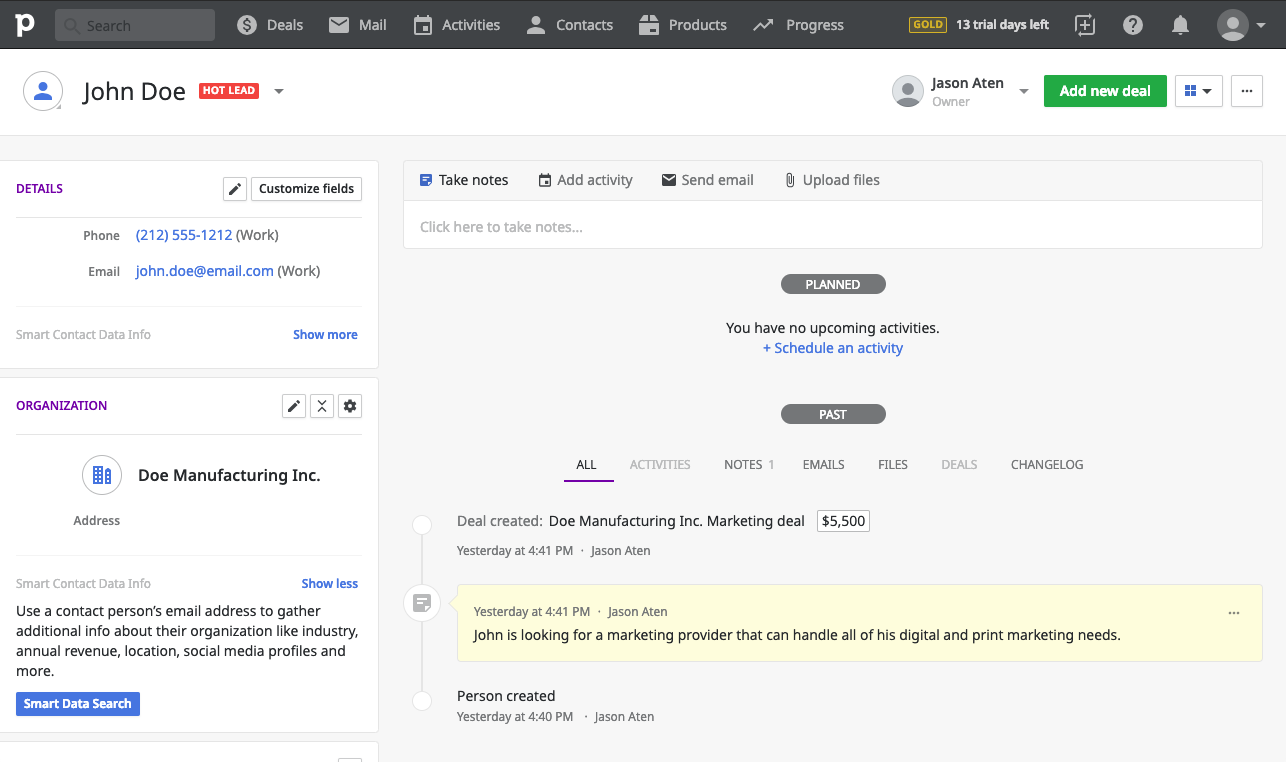 Pipedrive Contact Management - crm process