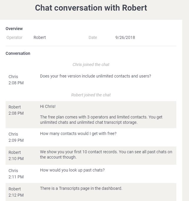 chat transcript- what is live chat