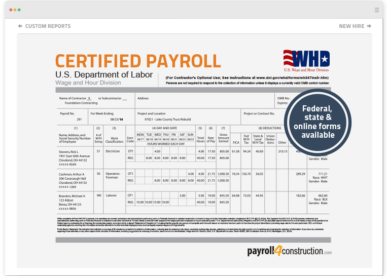 weekly certified payroll report