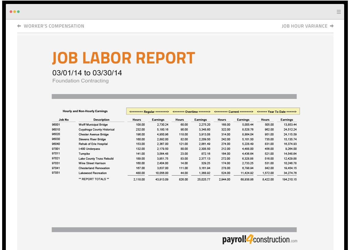 Payroll4Construction job labor report