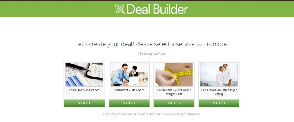 groupon deal builder with 4 deals to choose from
