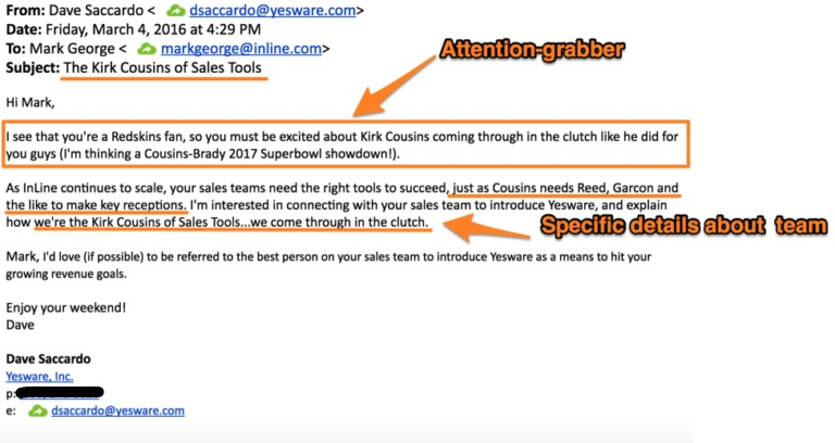Make It Relatable to Your Recipient's Interests - cold email example