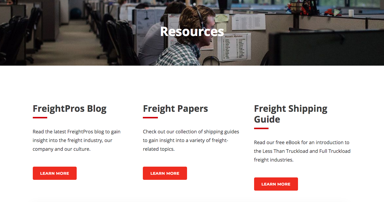 the screen shot of FreightPro's online resources