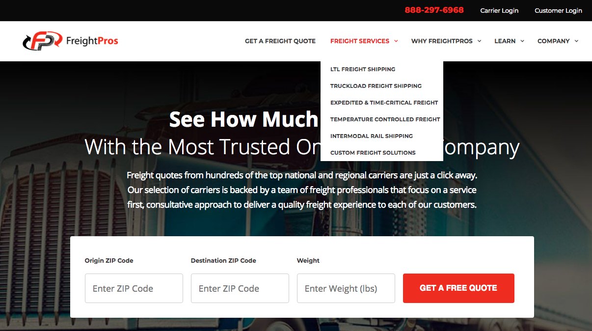 screen shot of FreightPros landing page
